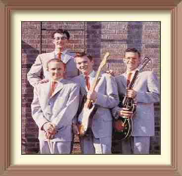 The Crickets 1957: Pictured from left:<br> Buddy Holly, Joe B Mauldin, Jerry Allison, Niki Sullivan